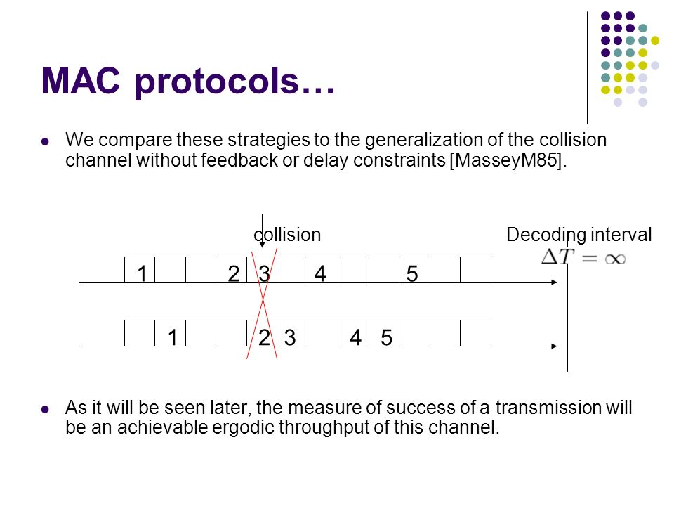 MAC protocols… We compare these strategies to the generalization of the collision channel without feedback or delay constraints [MasseyM85].